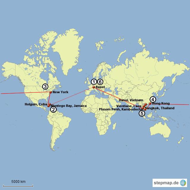 18.02.15: Basel, Schweiz - Holguin, Cuba 13.03.15: Havanna, Cuba - Montego Bay, Jamaica 28.03.15: Montego Bay, Jamaica - New York, USA 03.04.15: New York, USA - Hong Kong, China 09.04.15: Hong Kong, China - Bangkok, Thailand ab 09.04.15: Rundreise Laos, Kambodscha, Vietnam, Thailand 12.07.15: Bangkok, Thailand - Basel, Schweiz