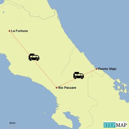 Fahrt von La Fortuna nach Puerto Viejo