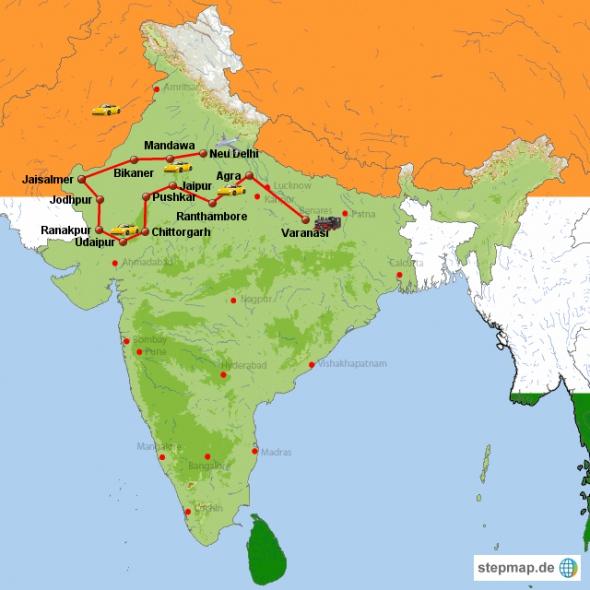 Rundreise durch Indien- von Neu Delhi durch Rajasthan bis Varanasi