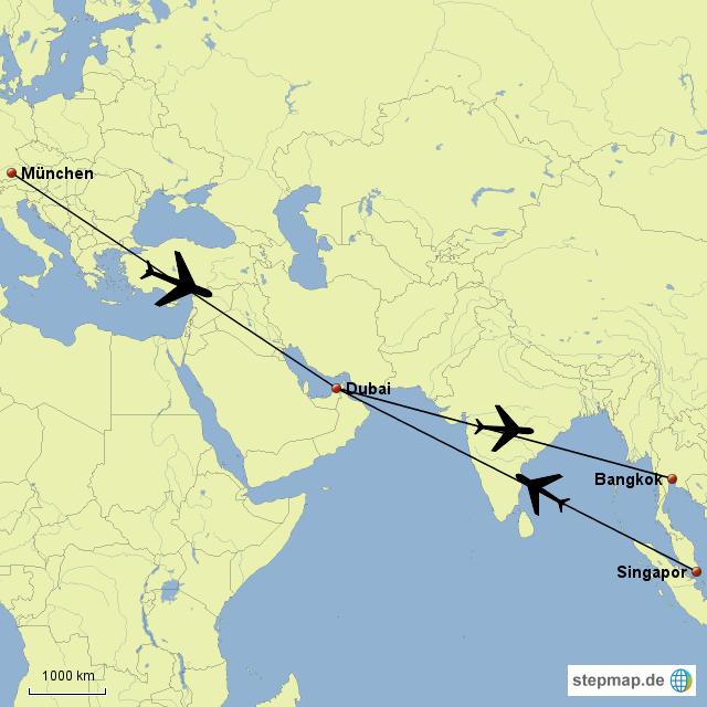 Flug Dubai Bangkok Singpur