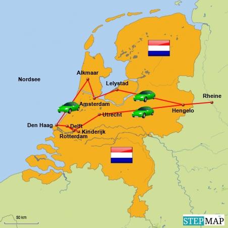 Unsere Reiseroute durch Holland