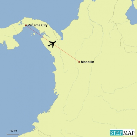 Flug von Panama City nach Medellin/Kolumbien