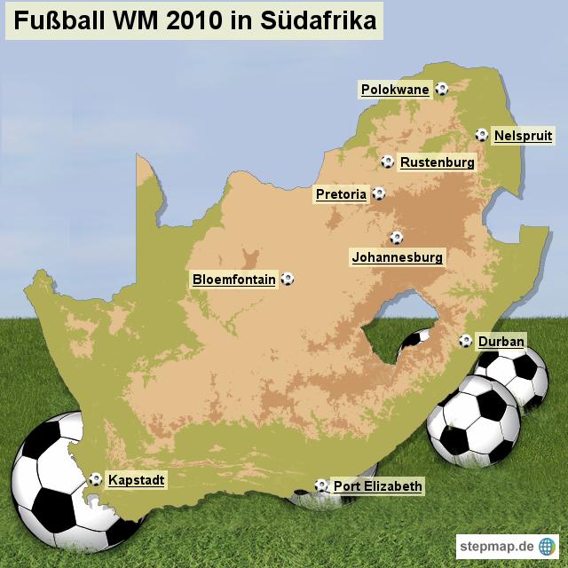 Austragungsorte der Fu�ball WM 2010 in S�dafrika