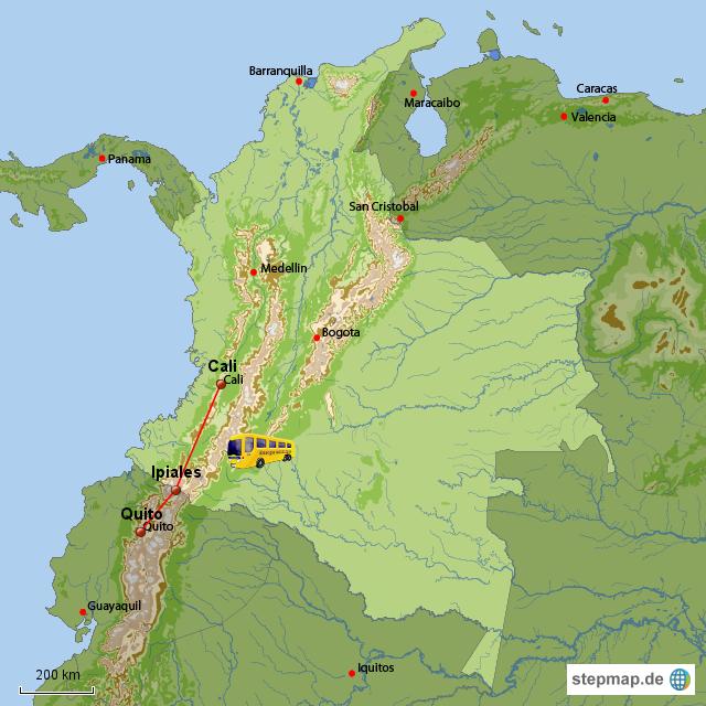 Unsere Reise von Cali nach Ipiales 13 Stunden über Nacht und dann weitere fünf Stunden nach Quito - uff!