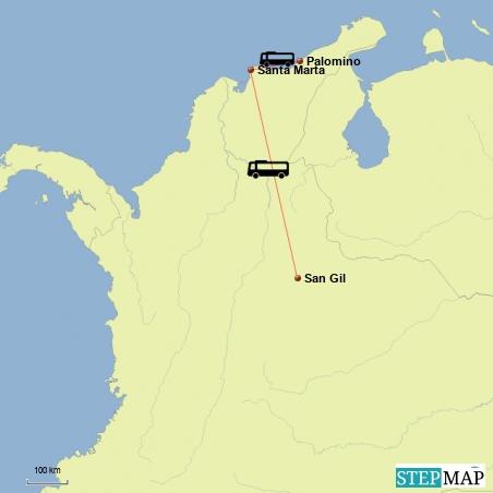 Fahrt von San Gil nach Santa Marta und weiter nach Palomino