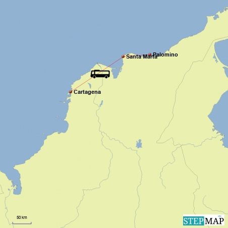 Fahrt von Palomino ueber Santa Marta nach Cartagena