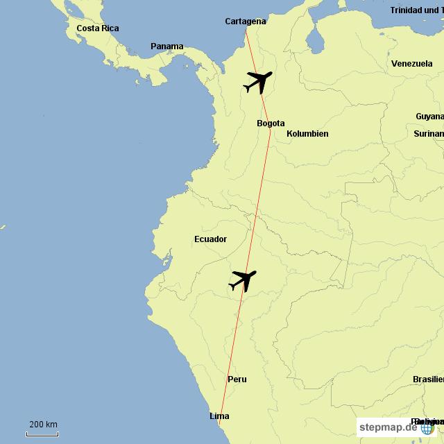 Flug von Kolumbien nach Peru
