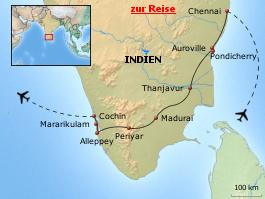 Karte von Südindien erleben - Natur, Kultur, Yoga und Spiritualität
