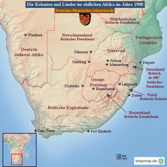 Die Kolonien und Länder im südlichen Afrika im Jahre 1900