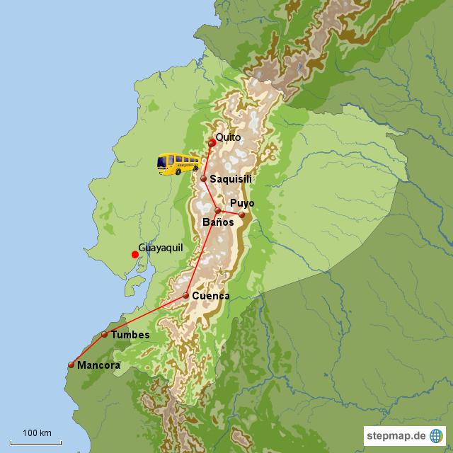 Von Cuenca zur Grenze und weiter nach Mancora.