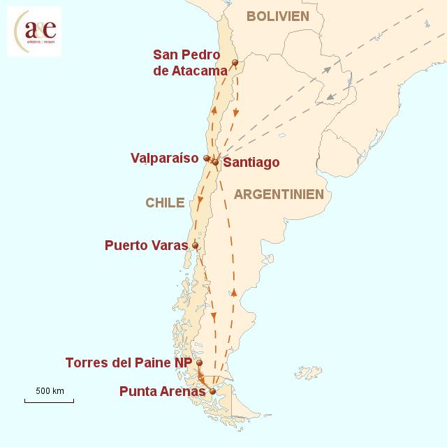 Routenkarte zur Reise Vom Wüstensand zum Gletschereis