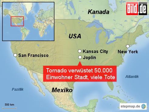 Bild: Tornado verwüstet Joplin, Missouri