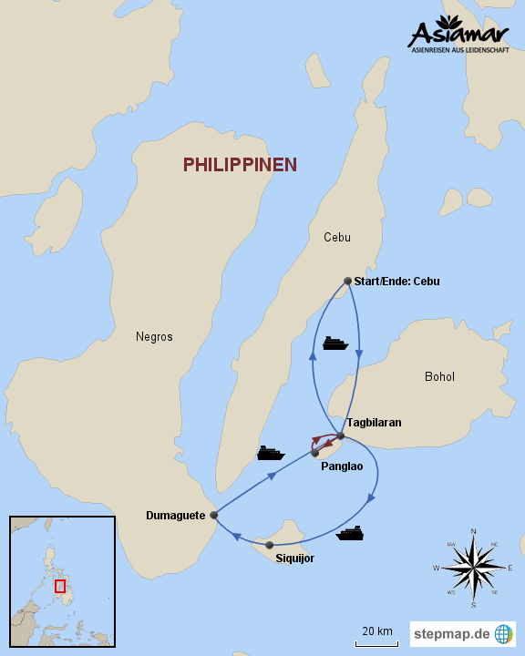 Philippinen Karte Inselhüpfen Panglao, Siquijor und Negros