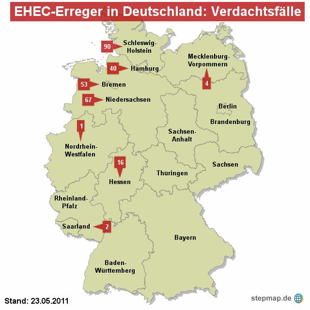 EHEC-Erreger in Deutschland: Verdachtsfälle