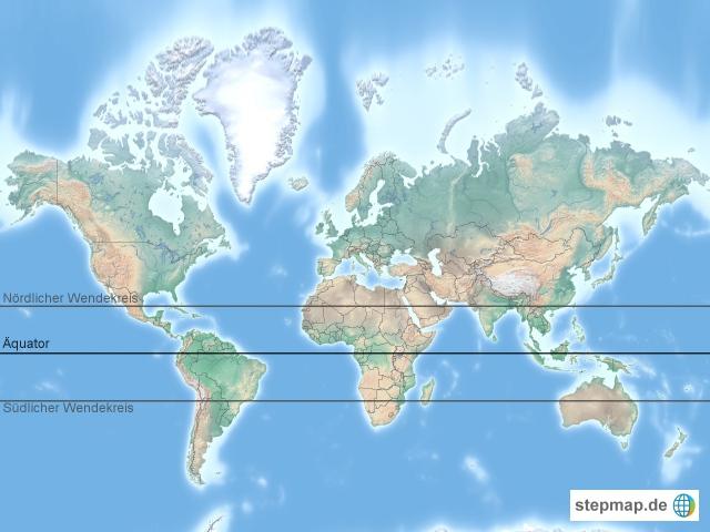 Welt mit Wendekreisen