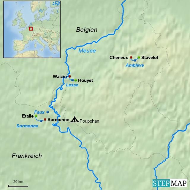 Paddelkarte Ardennen