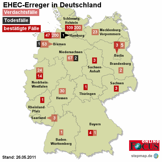 FOCUS: EHEC-Erreger in Deutschland 26.05.2011