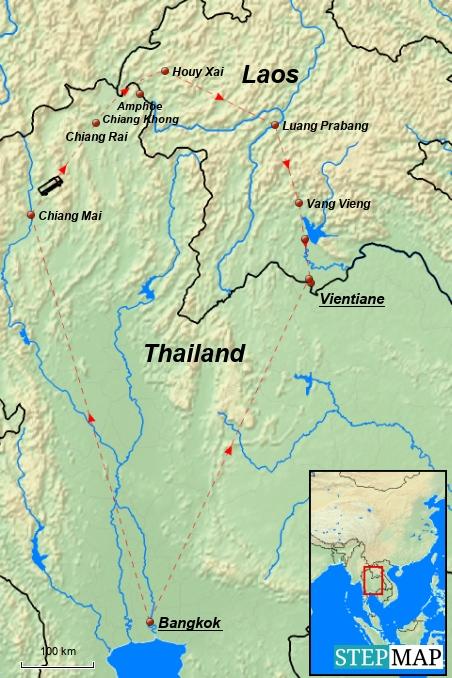 Grobe erste Planung: Von Bangkok wollen wir direkt weiter in den Norden und nach Laos