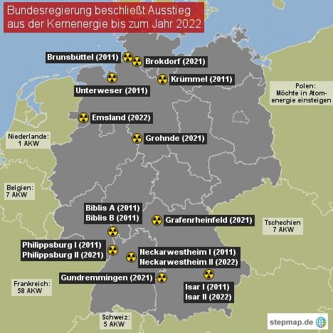 AKW Deutschland und Nachbarländer