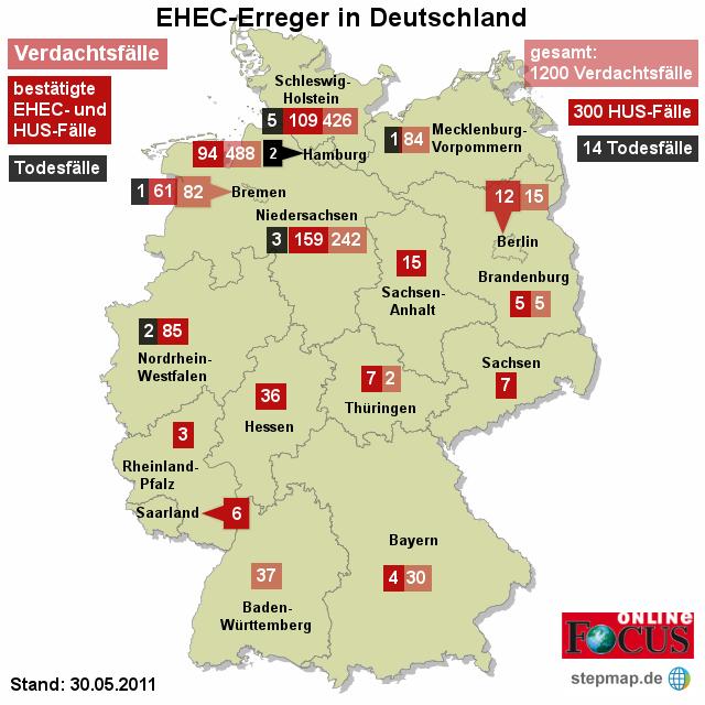FOCUS: EHEC-Erreger in Deutschland 30.05.2011