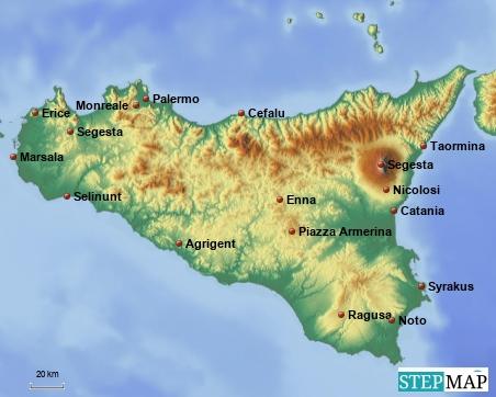 angefahrene Ziele auf der Sonneninsel Sizilien