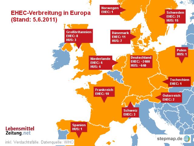 EHEC-Verbreitung in Europa