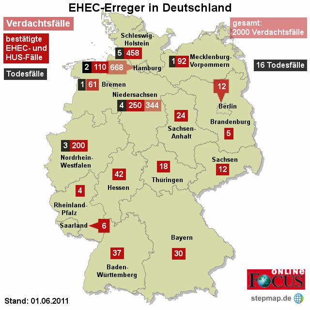 FOCUS: EHEC-Erreger in Deutschland 01.06.2011