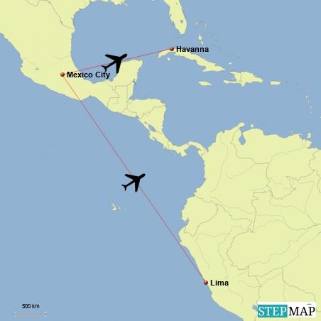 Flug von Lima ueber Mexico City nach Havanna