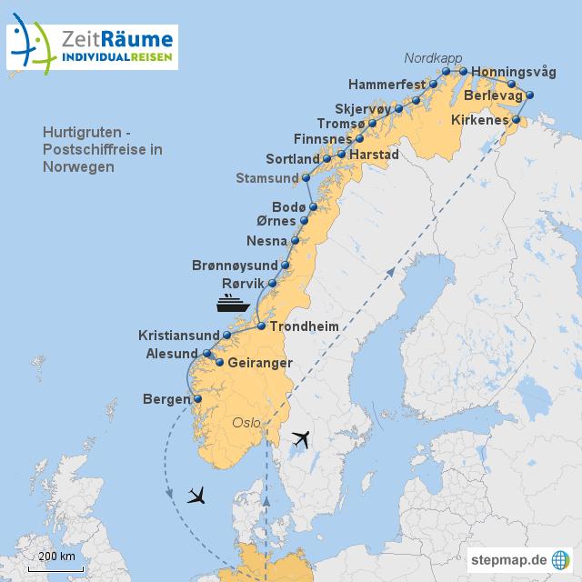 Hurtigruten Kirkenes-Bergen mit Flug und Zwischenstop in Oslo mit Logo
