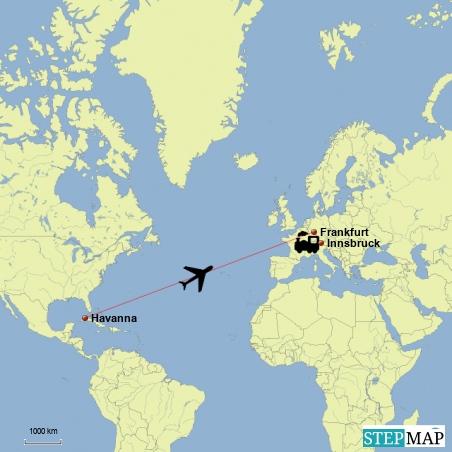 Flug von Havanna nach Frankfurt und mit dem Zug geht heimwaerts Richtung Innsbruck