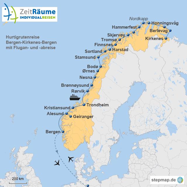 Hurtigruten Bergen-Kirkenes-Bergen mit Flug hin und zurück mit Logo