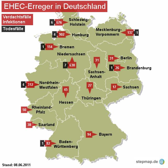 EHEC-Erreger in Deutschland 07.06.2011