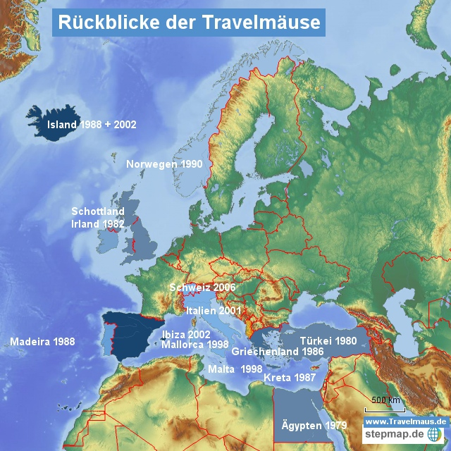 Europakarte der Travelmäuse