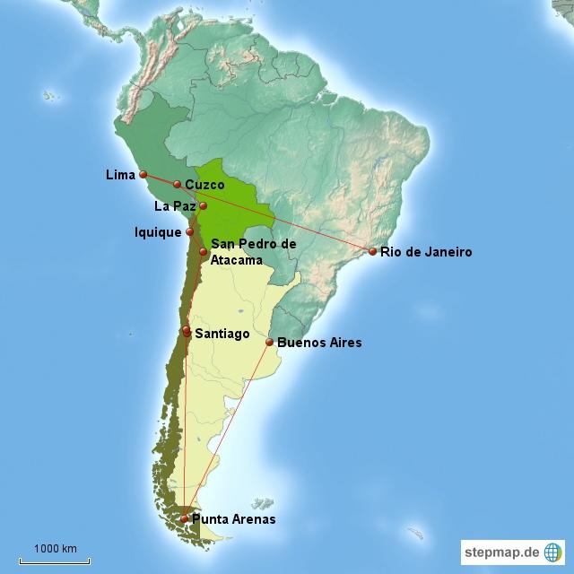 Unsere Reiseroute umfasst fünft südamerikanische Länder - vollgepacktes Schedule!