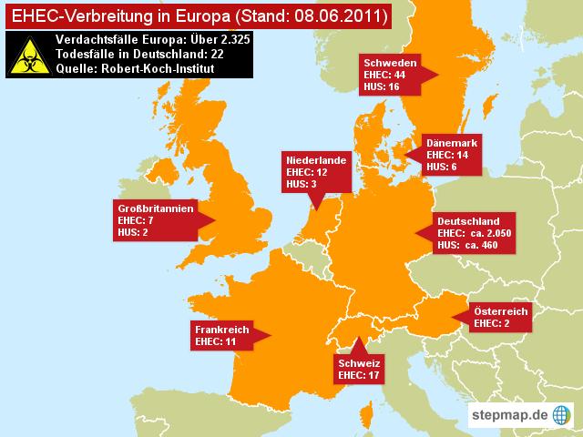 EHEC-Verbreitung in Europa 08.06.2011