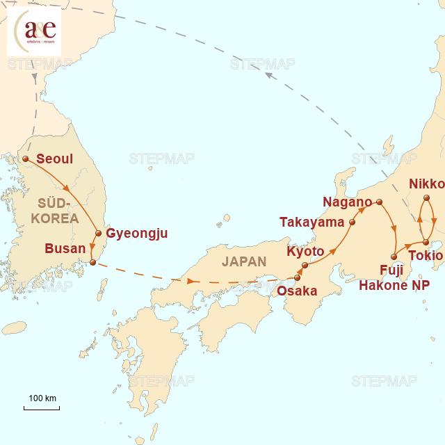 Routenkarte zur Reise Ostasiatische Traditionen in schillernder Moderne