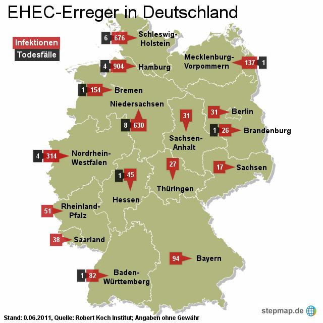 EHEC-Erreger in Deutschland 09.06.2011