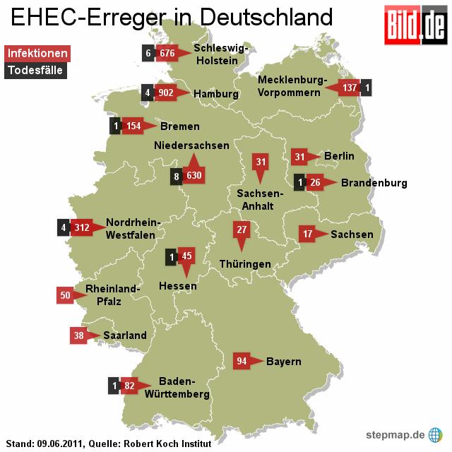 Bild: EHEC-Erreger in Deutschland 09.06.2011