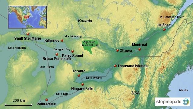 Übersichtskarte Ostkanada