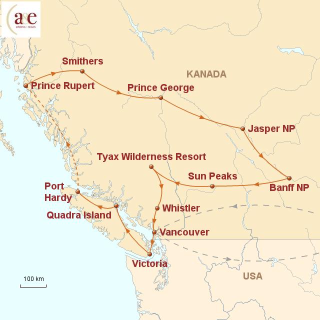 """Routenkarte zur Reise On the Road – den Westen """"erfahren"""""""