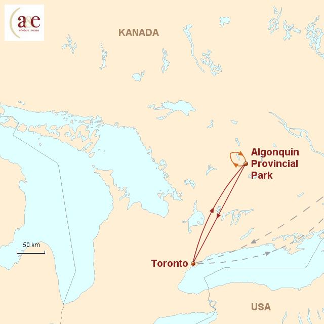 Routenkarte zur Reise Kanu-Abenteuer im Algonquin Park