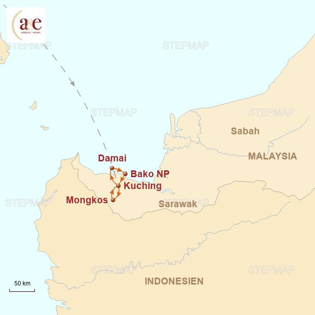 Routenkarte zur Reise Exotisches Sarawak