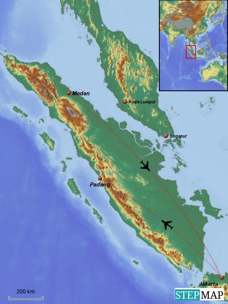 Von Jakarta fliegen wir morgens nach Padang und am Ende des Urlaubs von Medan wieder nach Jakarta zurück