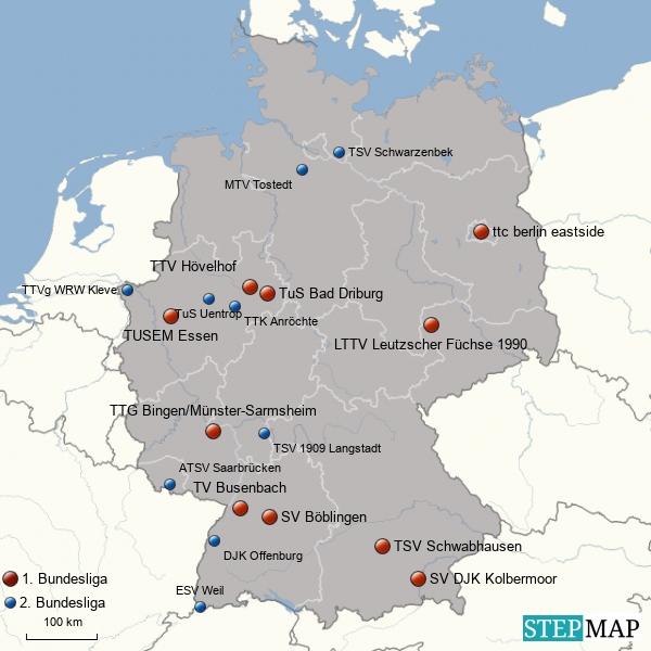 1. & 2. Damen Tischtennis Bundesliga - Landkarte 2015/16