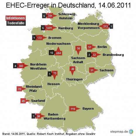 EHEC-Erreger in Deutschland 14.06.2011