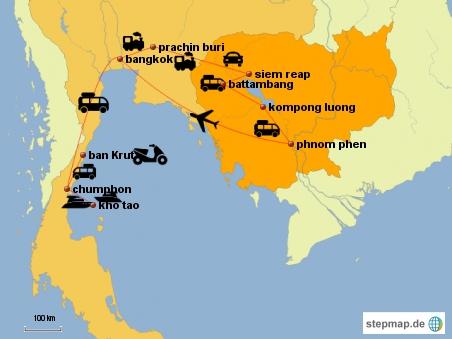 Mit Fähre und Bus nach Ban Krut, wo wir Roller fahren