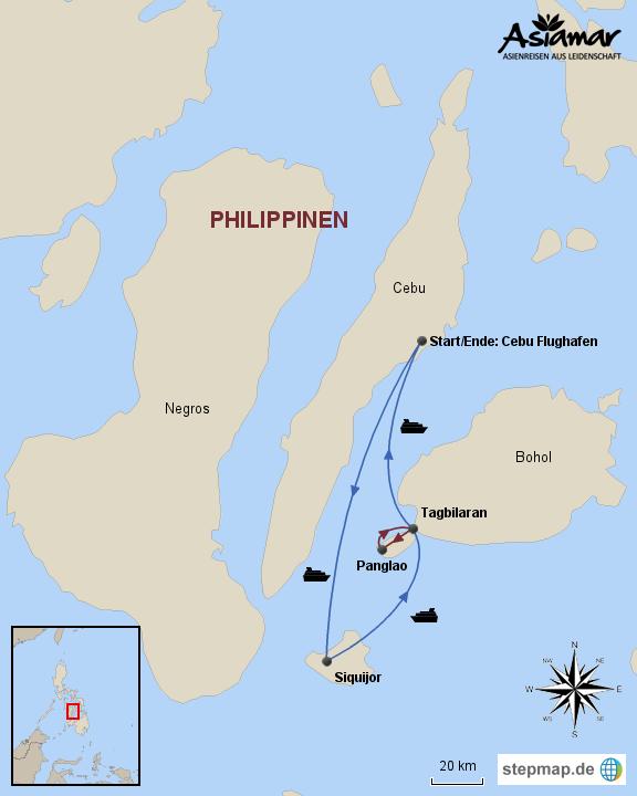 Philippinen Karte Inselhüpfen Siquijor und Panglao