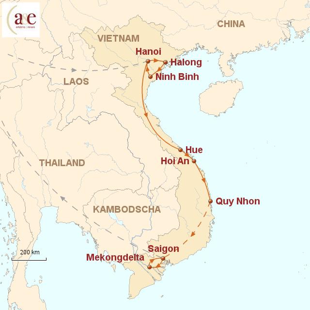 Routenkarte zur Reise Von Nord nach Süd 2017