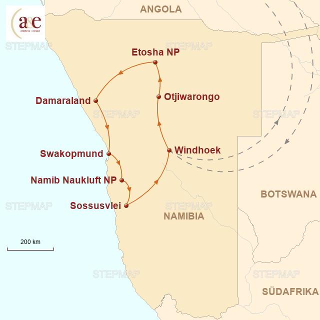 Routenkarte zur Reise Unter Namibias Sternenhimmel
