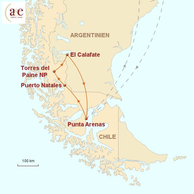 Routenkarte zur Reise Faszination Patagonien